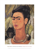Self-Portrait with Monkey Reproduction d'art par Frida Kahlo