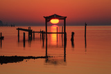 Florida  Apalachicola  Old Boat House at Sunrise on Apalachicola Bay