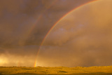 Wyoming  Sublette County  Double Rainbow in Stormy Sky