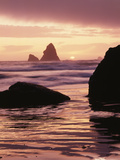 Oregon  Sunset over Sea Stacks at Meyers Creek Beach
