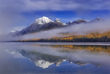 Fog at Rainbow Peak and Bowman Lake in Autumn in Glacier National Park  Montana