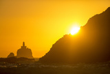 Tillamook Rock Lighthouse Silhouetted by Sunset  Ecola Sp  Oregon