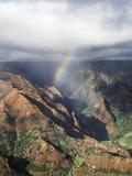 Hawaii  Kauai  Waimea Canyon State Park  a Rainbow over Waimea Canyon