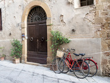 Italy  Tuscany  Pienza Bicycles Parked Along the Streets of Pienza