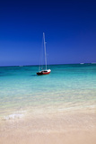 USA  Hawaii  Oahu  Sail Boat at Anchor in Blue Water with Swimmer