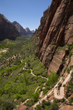 Utah  Zion National Park  Hikers Climbing Up West Rim Trail and Angels Landing
