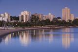 Australia  Perth  South Perth Buildings Along Swan River  Dawn