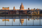 England  London  Reflection in Puddle  Near Millennium Bridge  Dawn