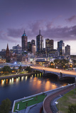Australia  Victoria  Melbourne  Skyline with River and Bridge at Dusk