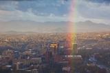 North Carolina  Asheville  Elevated City Skyline with Rainbows  Dawn