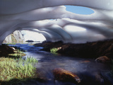 California  Inyo Nf  Twenty Lakes Basin  Stream Through an Ice Cave