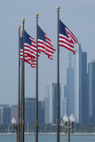 Illinois  Chicago Navy Pier  Us Flags Flying in Front of City Skyline