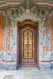 Bali  Indonesia Carved Doorway to Hindu Priest House  Family Compound