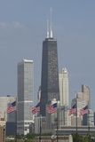 Illinois  Chicago Navy Pier  Us Flags in Front of Chicago Skyline