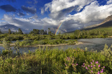 Rainbow over the St Mary River in Glacier National Park  Montana  USA
