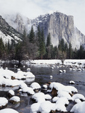 California  Sierra Nevada  Yosemite National Park  Snow on El Capitan