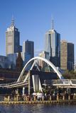Australia  Victoria  Melbourne  Skyline with Yarra River Footbridge