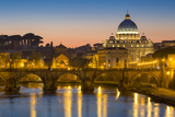 River Tibor and the Dome of San Pietro  Vatican  Rome  Lazio  Italy