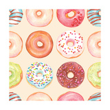 Seamless Background of Watercolor Colorful Donuts Glazed