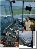 Air Traffic Controllers Direct Traffic from a Radio Console