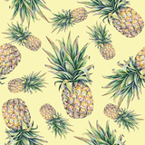 Pineapple on a Yellow Background Seamless Pattern