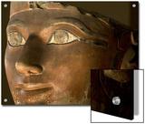 Osiris statue face of Hatshepsut in painted limestone