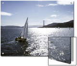 Boat Sails Toward the Golden Gate Bridge on San Francisco Bay