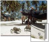 American Ground Crews Prepare Marine Corsairs for Strikes on Japanese