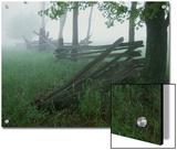 Heavy Fog Hangs Over Split Rail Fences in Early Morning