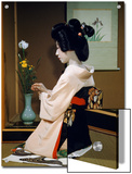 Portrait of a Seated Geisha Wearing Kimono and Obi
