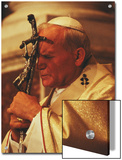 Pope John Paul II Prays with a Bishop's Crosier Pressed to his Brow