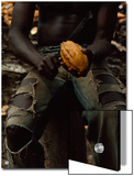 Shirtless  Sitting Man Splits a Cacao Pod with a Knife