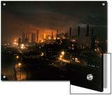 Blast Furnaces of a Steel Mill Light the Night