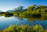 Summer Scenic of Mist over Moose Ponds and Explorer Glacier in Portage Valley  Alaska