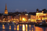 Boats Moored on River Suir at City Waterfront at Night; Waterford City  County Waterford  Ireland