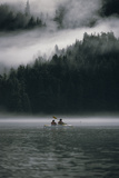 Couple Sea Kayaking in Red Bluff Bay with Mist Rolling Off Baranof Isl Chatham Strait Southeast Ala