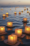Annual Lantern Floating Ceremony During Sunset at Ala Moana; Oahu  Hawaii  United States of America