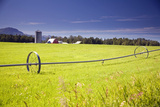 Rolling Irrigation Sprinkler on Hay Field with Farm Background Mat-Su Valley Sc Alaska Summer