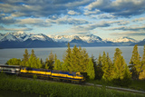 Alaska Railroad Passes in Front of Turnagain Arm Near Bird Point Heading Towards Anchorage