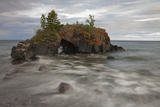 Water Coming into Shore around a Rock Formation on Lake Superior; Grand Portage