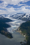 Aerial View of Mendenhall Glacier Winding its Way Down from the Juneau Icefield to Mendenhall Lake