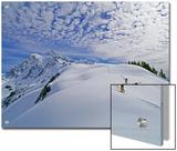 Off-Piste Skiers Hike Below Mount Shuksan  Near Mount Baker Ski Area