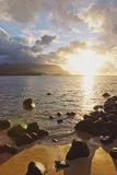 Hawaii  Kauai  Hanalei Bay  Dramatic Sunset over Ocean from Beach