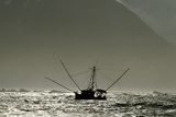 Silhouetted Salmon Troller Fishing Off Icy Point  Gulf of Alaska During Mid-Summer