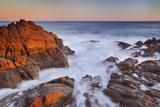 California  Malibu  Sunset over Rocky Ocean Coastline