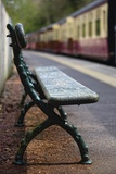 Bench on Train Platform; Yorkshire England