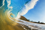 Hawaii  Maui  Makena  Beautiful Blue Ocean Wave Breaking at the Beach