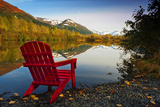 Red Adirondak Chair Along Lakeshore  Alaska
