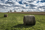 Hay Bales and a Corn Field under a Cloud-Filled Early Autumn Sky
