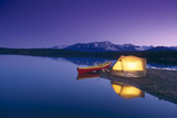 Lighted Tent and Canoe Byers Lake Tokosha Mts Sc Ak Evening Summer